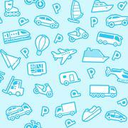 Seamless blue background, white transport icons Stock Illustration