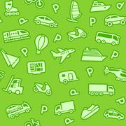 Seamless green background, green transport icons Stock Illustration