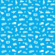 Seamless transports icons pattern, wallpaper Stock Illustration