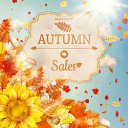 Background on a theme of autumn. Sale. EPS 10 Stock Illustration