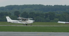 Small Single Engine Airplane Parking at Little Airport 10bit, 4K  Stock Footage