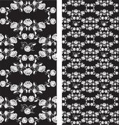 Set of seamless roses pattern, wallpaper Stock Illustration