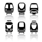 Set of transport icons - Train and Tram Piirros