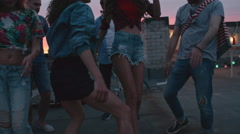 Sexy Girls Dancing at Rooftop Party Stock Footage