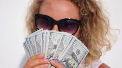 Happy Successful Woman Holding Dollars - Money Power and Wealth Stock Footage