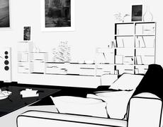 One room is drawn in anime style. Manga style Stock Illustration