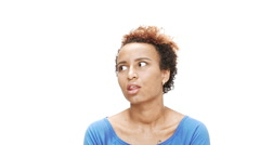 Annoyed young beautiful african girl speaking over white background. Slow motion Stock Footage