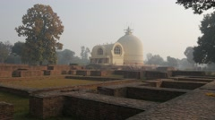 Parinirvana Stupa where Buddha died with ruins,Kushinagar,India Stock Footage