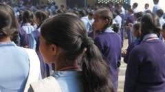 Back of school kids lined up at school,Kushinagar,India Stock Footage