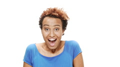 Surprised young beautiful african girl smiling, rejoicing, showing okay over Stock Footage
