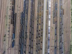 Depot with many railways at day in city at sunny day. View from above. Stock Photos