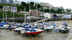 Ifracombe harbour with the tide out. Stock Footage