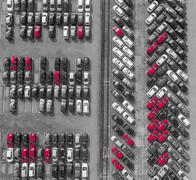 Aerial view lot of vehicles on parking for new car. Black and White selective Kuvituskuvat