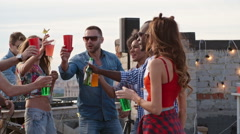 Cocktail Toast at Rooftop Day Party Arkistovideo