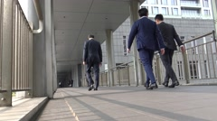 4k Asian Business People walk in modern office building, Back Through Office-Dan Stock Footage