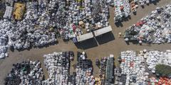 View landfill bird's-eye view. Landfill for waste storage. View from above. Stock Photos