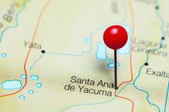 Santa Ana de Yacuma pinned on a map of Bolivia Stock Photos