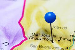 San Jose de Chupiamonas pinned on a map of Bolivia Kuvituskuvat