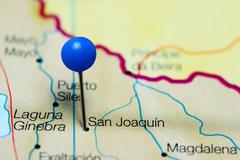 San Joaquin pinned on a map of Bolivia Stock Photos