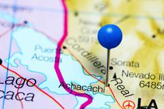 Achacachi pinned on a map of Bolivia Stock Photos
