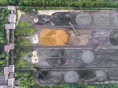 The surface mine storage place, mining minerals and brown coal in diferent co Stock Photos