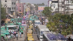 Heavy traffic on street,Lucknow,India Stock Footage
