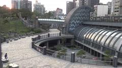 4K The Metro Daan Park Station in Taipei city, Cityscape sunset of Taiwan-Dan Stock Footage