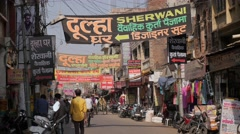 Street with traffic in old town,Lucknow,India Stock Footage