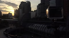 4k action camera film a sunset in the Metro Daan Park Station in Taipei city-Dan Stock Footage