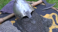 Ancient armor on display Stock Footage