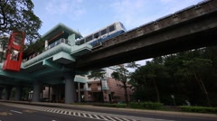An elevated train travels over a line of traffic during the day in taipei-Dan Stock Footage