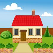 Eco house from natural materials Stock Illustration