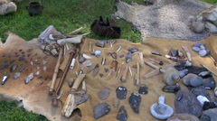 Display of various iron age tools Stock Footage