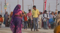 Crowdes musical procession,Allahabad,Kumbh Mela,India Stock Footage