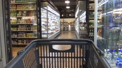 4K An Asian supermarket with products on the shelves. Shopping With Trolley-Dan Stock Footage