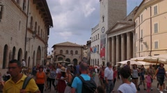 Assisi Town Hall and Temple of Minerva, Umbria, Italy Stock Footage
