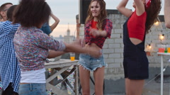 Clubbers Partying Nonstop on Rooftop Stock Footage