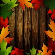 Wooden wall with autumn leaves frame Stock Illustration