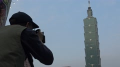 4K Photographer takes pictures of famous building 101 with DSLR camera-Dan Stock Footage