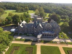 Aerial shot of Sands Point Preserve in NY, Castle Shot Stock Photos