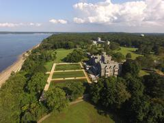 Aerial shot of Sands Point Preserve in NY, Reveal Shot Stock Photos