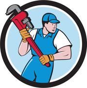 Plumber Holding Pipe Wrench Circle Cartoon Stock Illustration