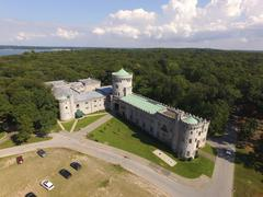 Aerial shot of Sands Point Preserve in NY, Entrance Shot Stock Photos
