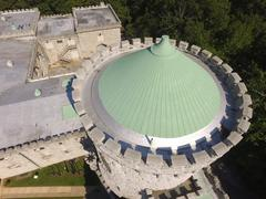 Aerial shot of Sands Point Preserve in NY, Cone Rooftop Shot Stock Photos