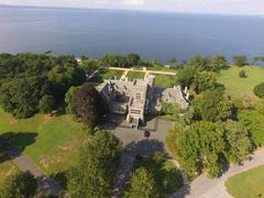 Aerial shot of Sands Point Preserve in NY, Horizon Shot Stock Photos