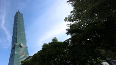 The famed Taipei 101 skyscraper in the capital city. The building in street -Dan Stock Footage