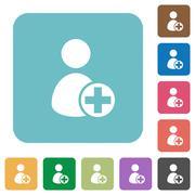 Flat add new user icons Stock Illustration