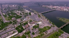 Bridges over Daugava Riga aerial view Stock Footage