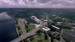 The National Library of Latvia, bird eye view Stock Footage