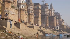 Ghats in the morning,Varanasi,India Stock Footage